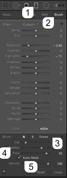 Steps to use brush to erase effect of graduated filter tool in Lightroom 6 or CC